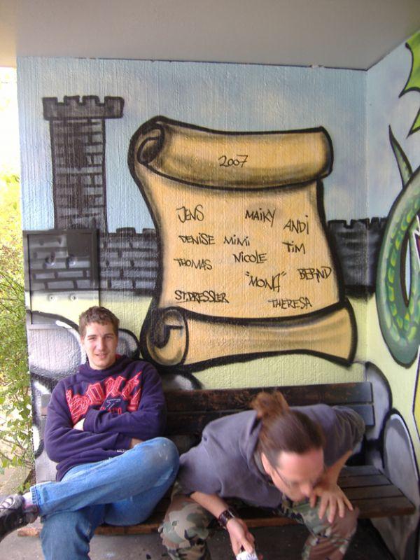 Graffiti Workshop Rheinen Iserlohn Bushaltestelle